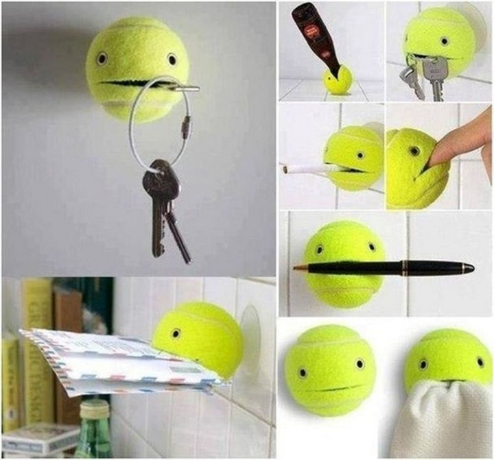 17 Life Hacks to Help Simplify Your Life - Secure a suction cup to a tennis ball and make a cute holder for nearly anything.