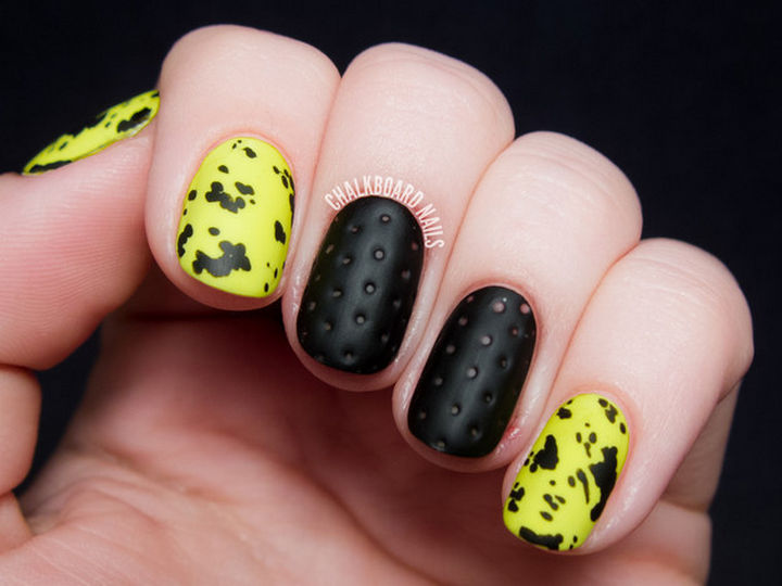 18 3D Nails - Edgy perforated leather 3d nails with neon faux splatter.