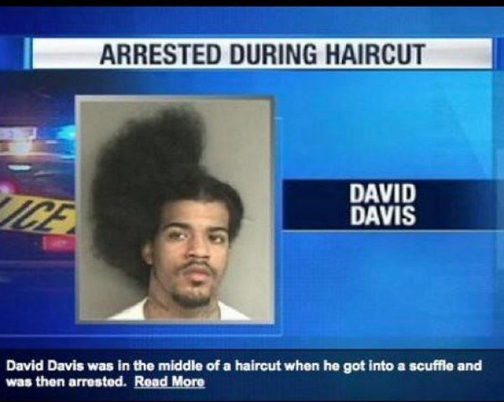 28 Perfectly Timed Photos of People Having a Bad Day - He should get arrested again by the fashion police for that haircut.
