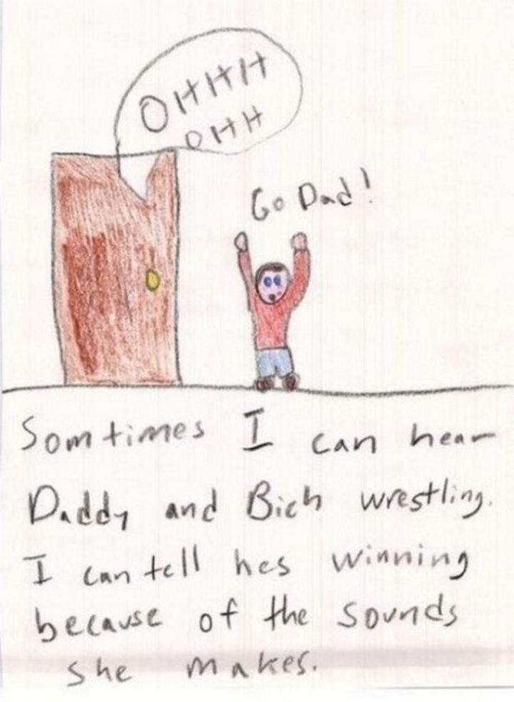 """35 Funny Drawings from Kids - If he ever sees his parents """"wrestling"""", he may get scarred for life."""