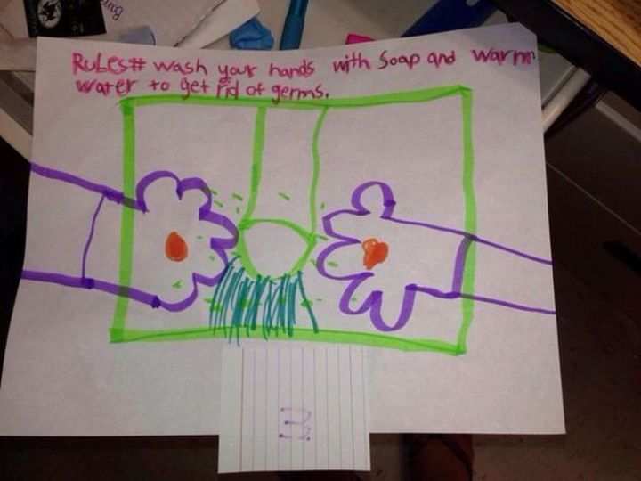 35 Funny Drawings from Kids - Always wash your hands!