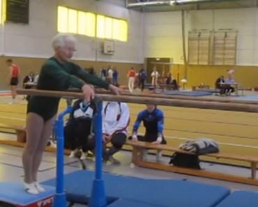 86-Year-Old Gymnast Grandmother Performs Gymnastics Routine.