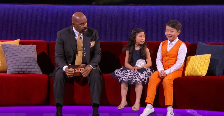 Jeffrey Li and Celine Tam Sing on Steve Harvey's Little Big Shots.
