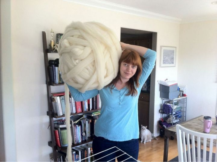 Laura Birek wanted to create something epic with large bundles of unspun wool roving she purchased.