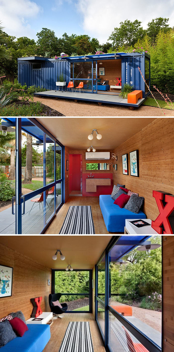 10 Gorgeous Shipping Container Homes - A colorful 360-square-foot San Antonio guest house designed byPoteet Architects.