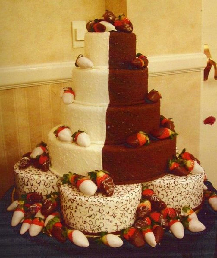 12 Him and Her Wedding Cake Ideas - A perfect half and half cake adorned with luscious strawberries.