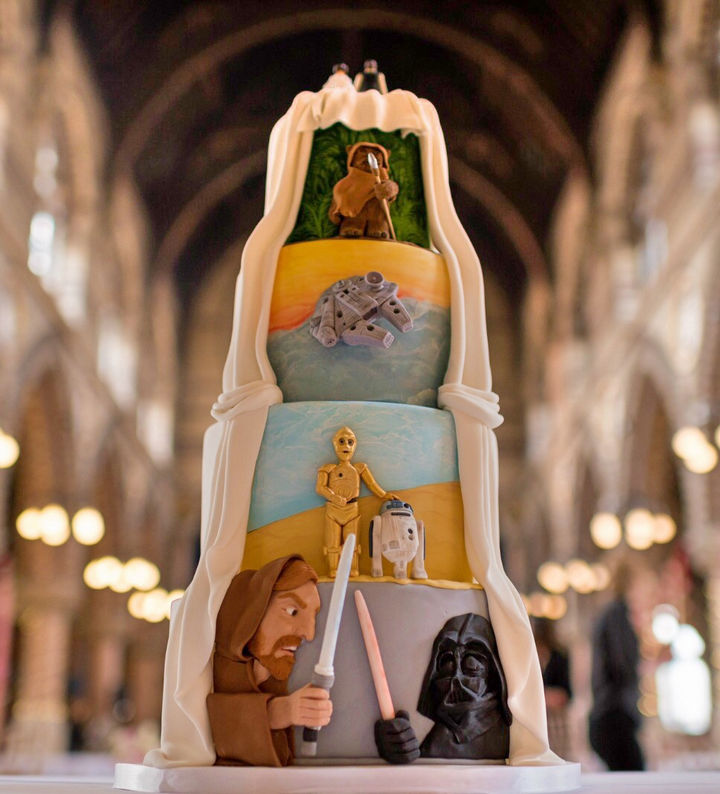 12 Him and Her Wedding Cake Ideas - An incredible Star Wars themed wedding cake.