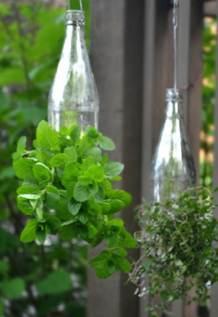 14 DIY Gardening Tips & Projects - Create hanging bottle gardens.