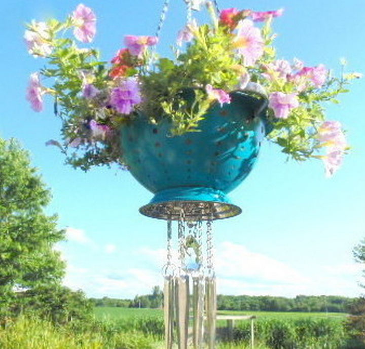 14 DIY Gardening Tips & Projects - Create a colander planter wind chime.