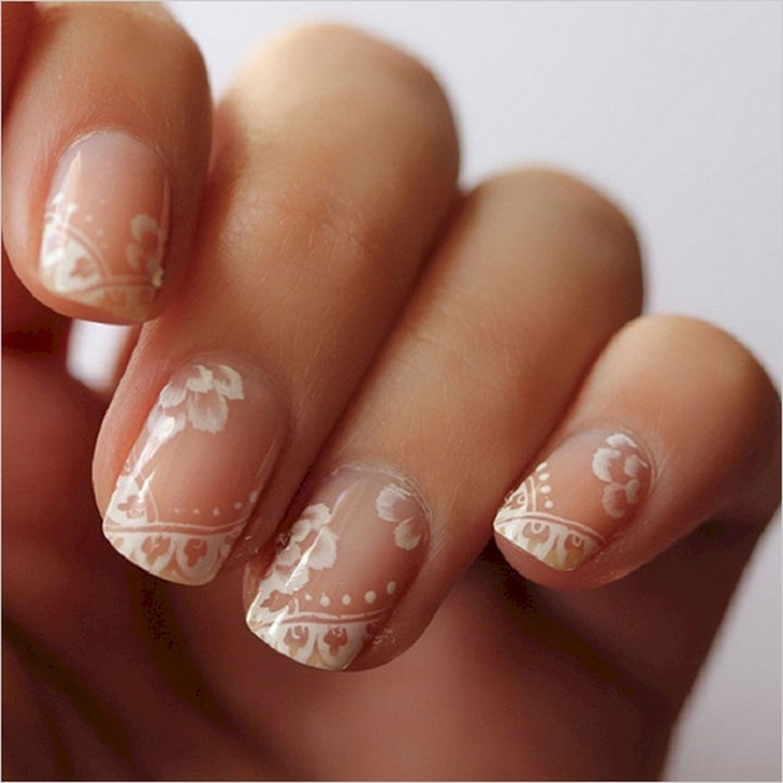 18 Perfect Wedding Nails - Gorgeous and subtle lace wedding nails.