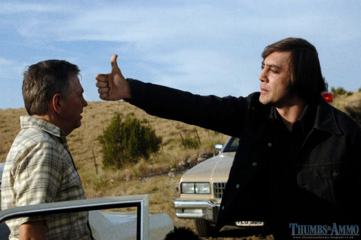 23 Movie Action Scenes Where Guns Were Replaced with a Thumbs-Up - 'No Country For Old Men'