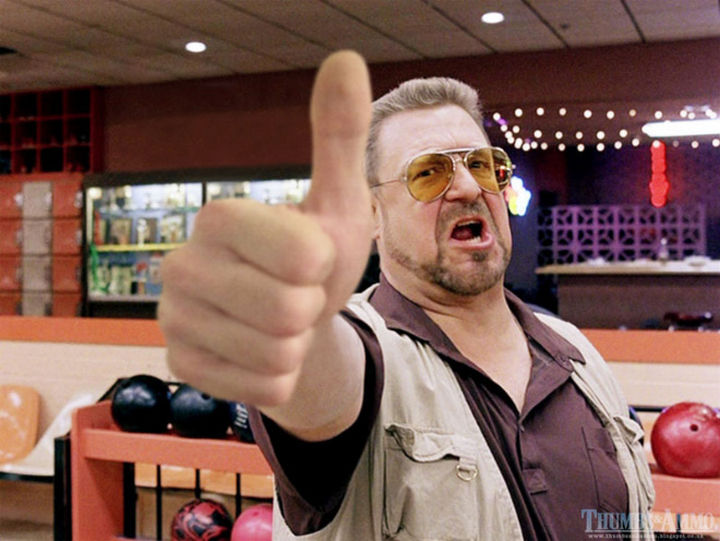 23 Movie Action Scenes Where Guns Were Replaced with a Thumbs-Up - 'The Big Lebowski'