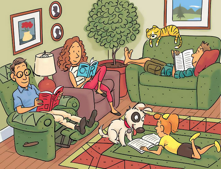 """Highlights Hidden Pictures Puzzles - Find 6 hidden words in """"Relaxing day reading at home."""""""