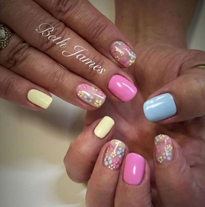 18 Spring Nails - Solid glossy pastels with pretty flower accents.