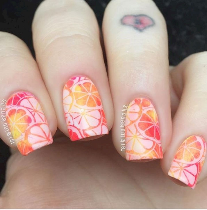 17 Fruit Nails - Using a stamp for creative citrus designs.