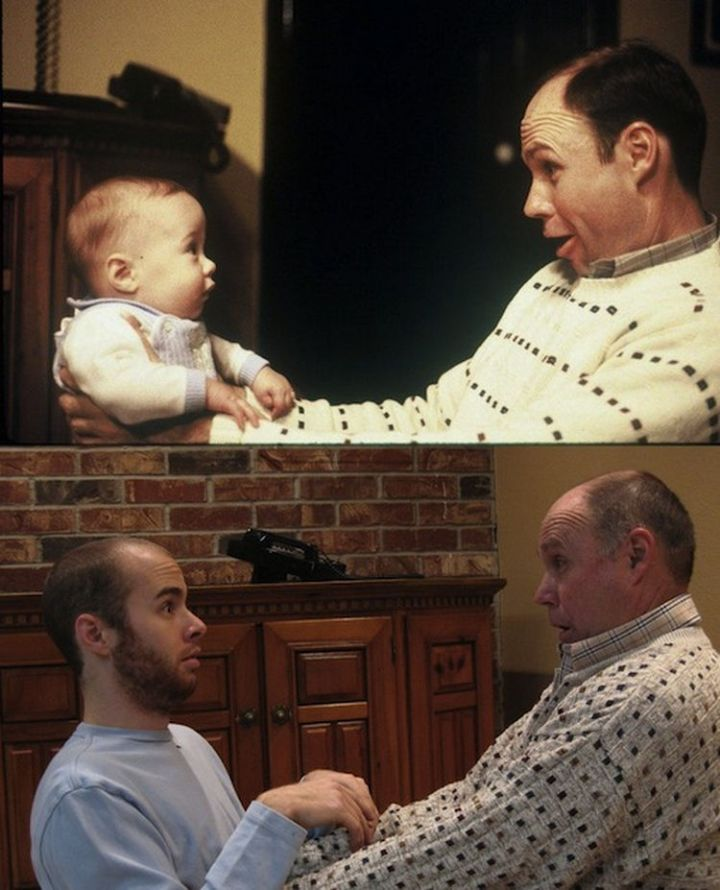 23 Then Now Photos - 23 years later, his son still looks surprised.