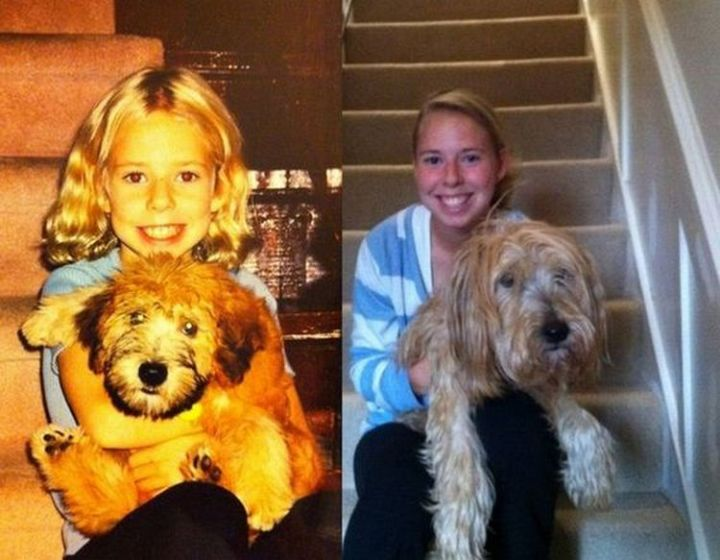 23 Then Now Photos - Another adorable photo of a girl and her dog.
