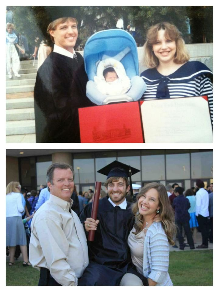 23 Then Now Photos- First dad's graduation. Then, his son's graduation.