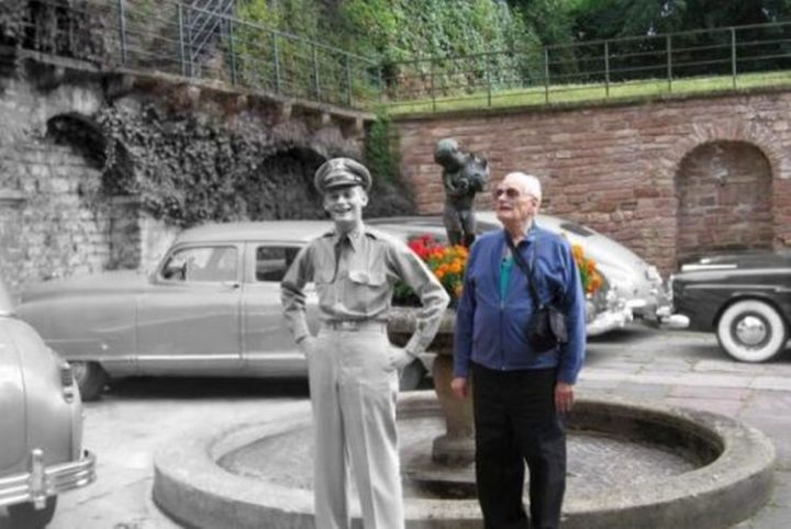 23 Then Now Photos - A touching split photograph of a man standing next to himself in the same spot decades later.