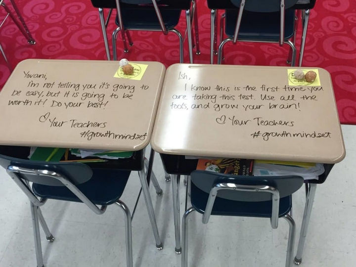 Realizing how stressful standardized testing, teacher Chandni Langford wrote each student a personalized message to inspire them.
