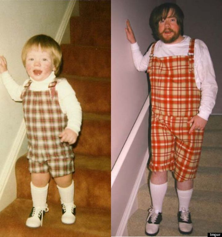 11 Then and Now Photos - Looking stylish in overalls 30 years later.