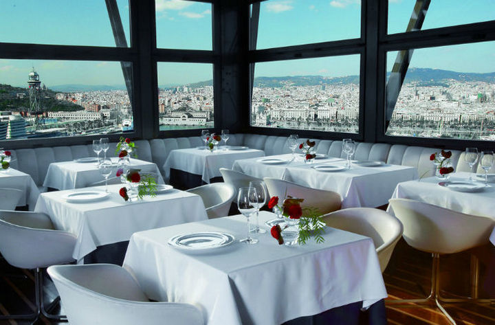 39 Amazing Restaurants With a View - Torre d'Alta Mar in Barcelona, Spain.