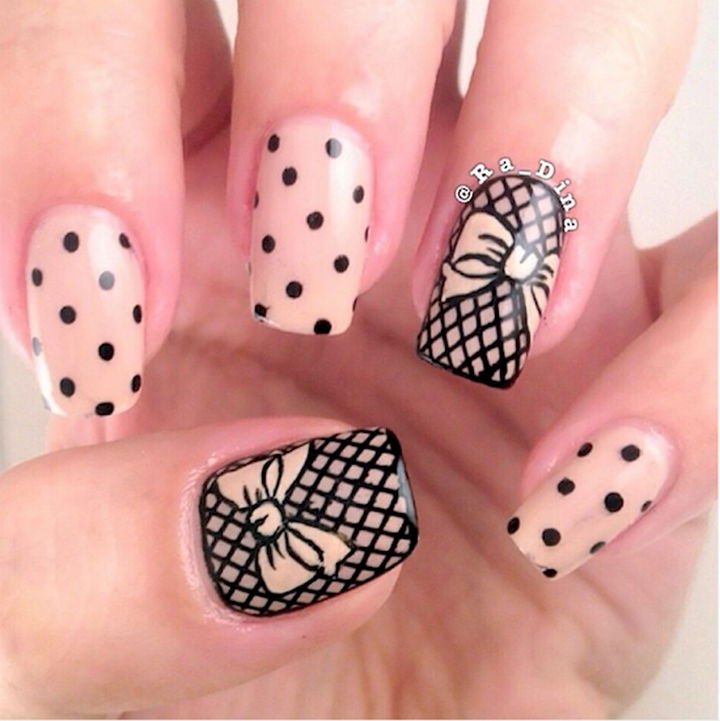 17 Bow Nail Art Designs - Gorgeous fishnet with bows accent nails.