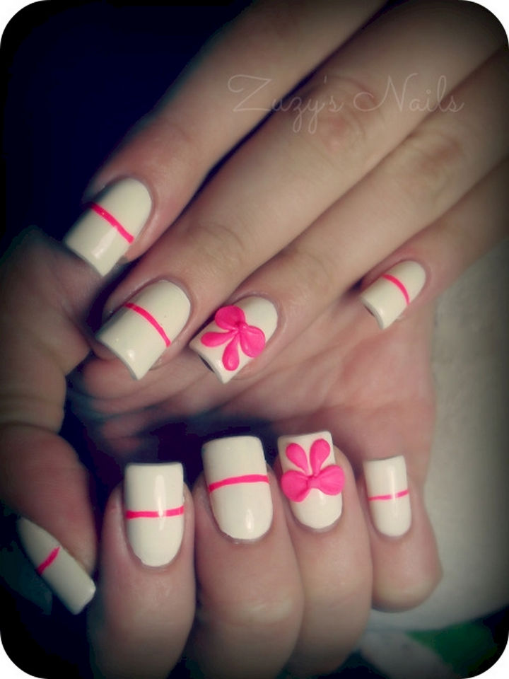 17 Bow Nail Art Designs - Hot pink accents makes this white manicure sizzle!