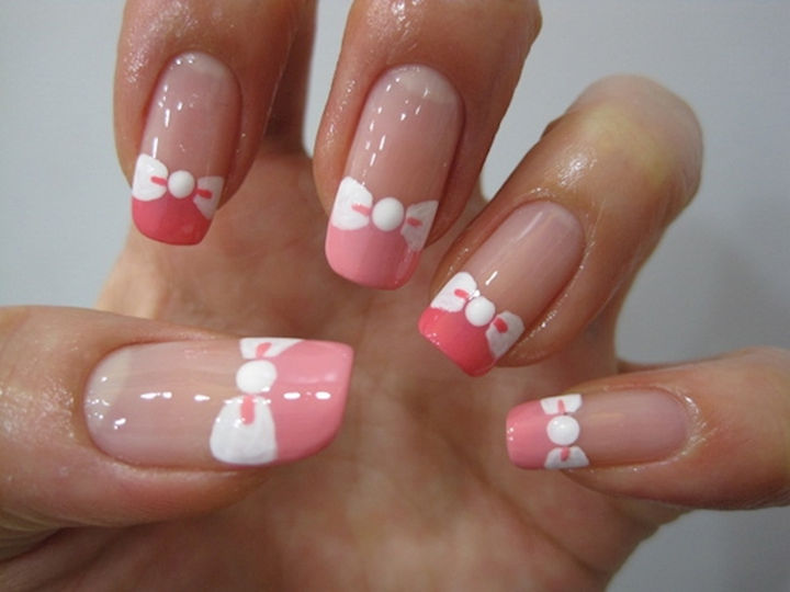 17 Bow Nail Art Designs - Beautiful nail bow French tips.