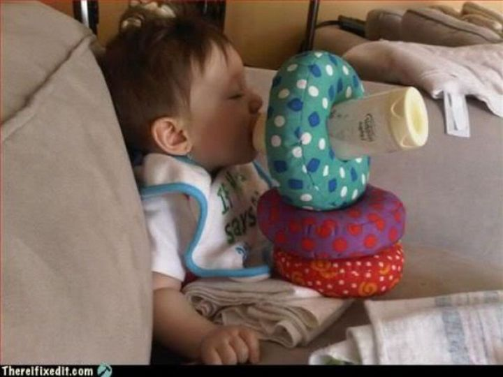 """20 Hilarious Ways Men Can Fix Anything - """"The baby needs to be fed? I can fix that!"""""""