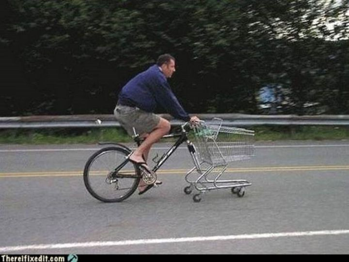"""20 Hilarious Ways Men Can Fix Anything - """"Tired of walking home while carrying groceries? I can fix that!"""""""