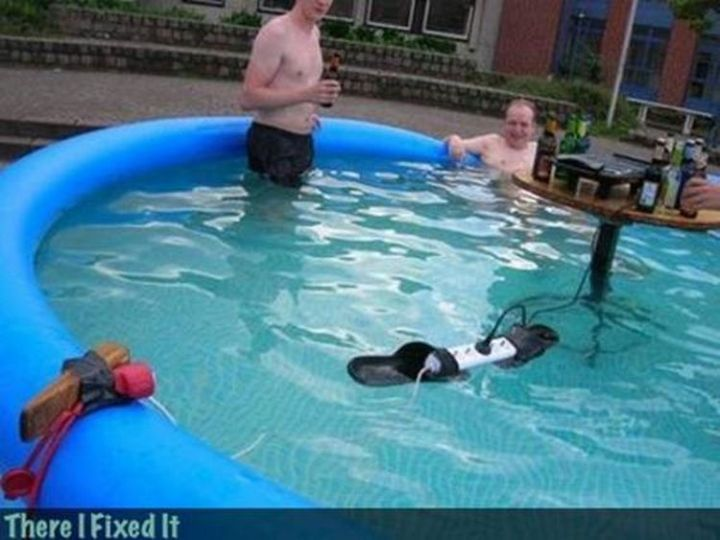 """20 Hilarious Ways Men Can Fix Anything - """"Want to listen to some tunes by the pool? I can fix that!"""""""