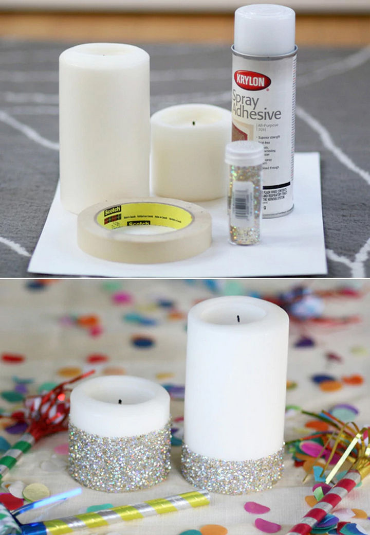 22 Kickass Life Hacks for Girls - Transform an ordinary candle into a pretty glitter candle.