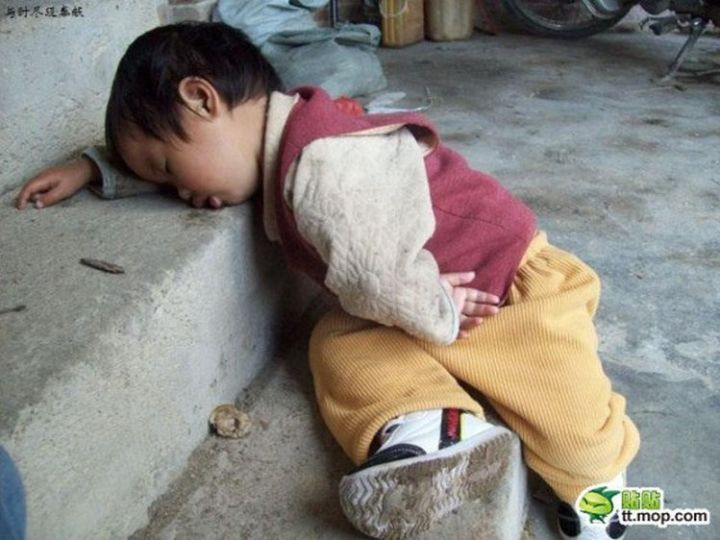25 Kids Sleeping in the Strangest Places - These stairs will do.