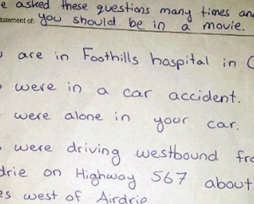 Calgary Man Hospitalized After Car Accident Finds a Note Attached to Him.