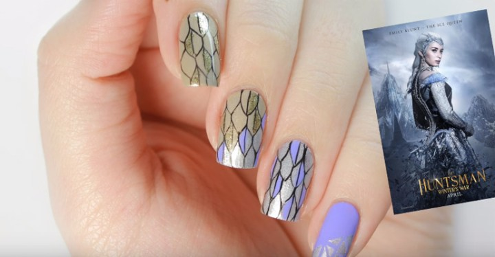 Feathered Frost Coat Nail Art Design Inspired by The Huntsman!