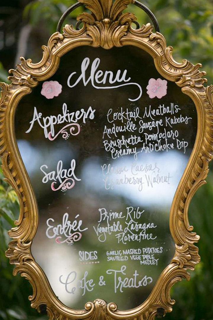 18 Wedding Signs That Are So Perfect - A gorgeous mirror menu.