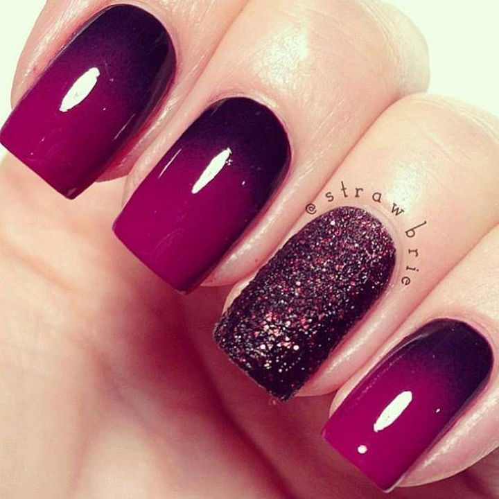 Dark purple ombré nails with a gorgeous glittering accent nail.