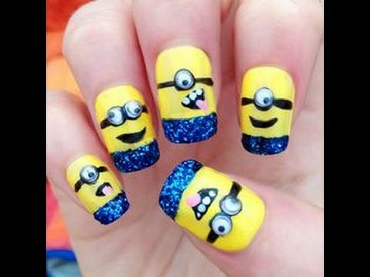 19 Minion Nails - Learn how to create Minion nails with fun googly eyes!