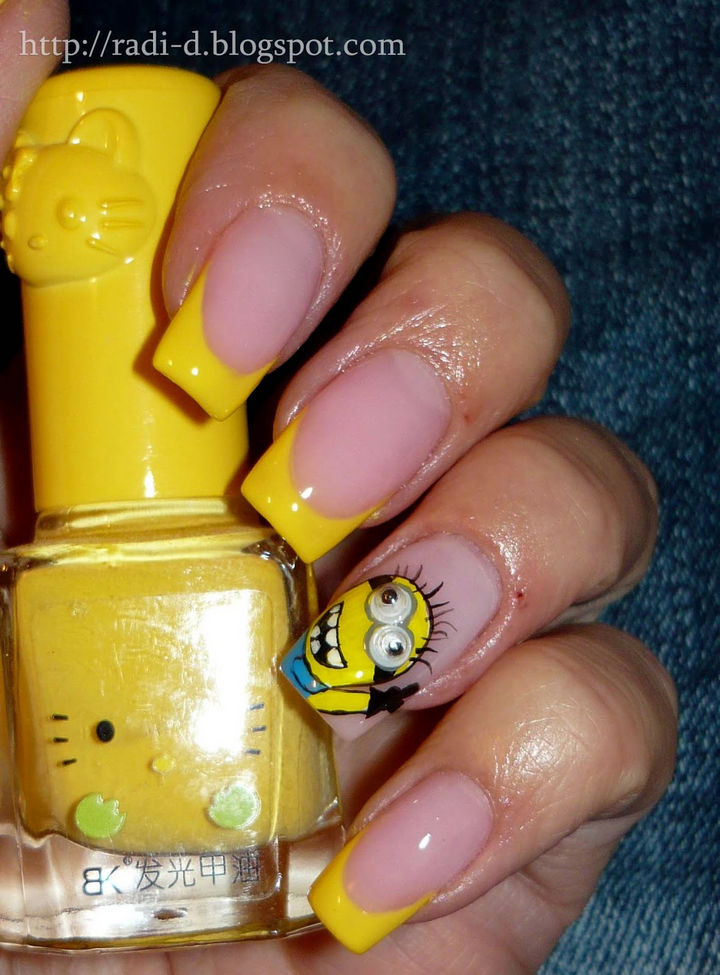 19 Minion Nails - Cute minion nails with even cuter moving eyeballs!
