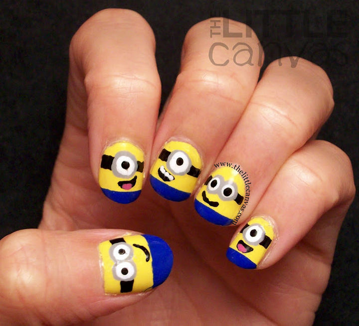 19 Minion Nails - Despicable Me minion nail art.