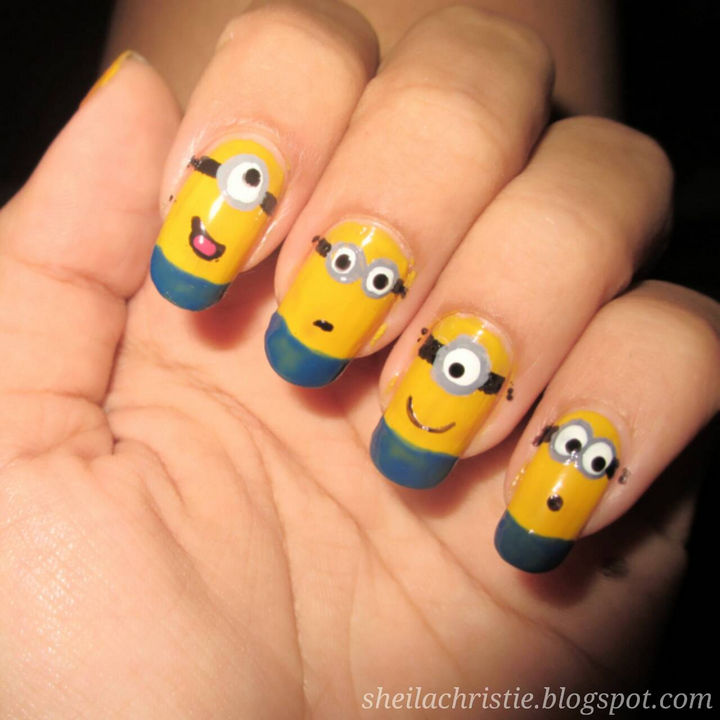 19 Minion Nails - Awesome minion nails.