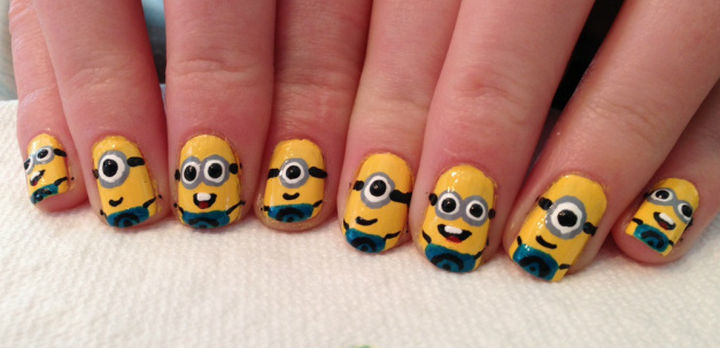 19 Minion Nails - Minion nail art for every finger.