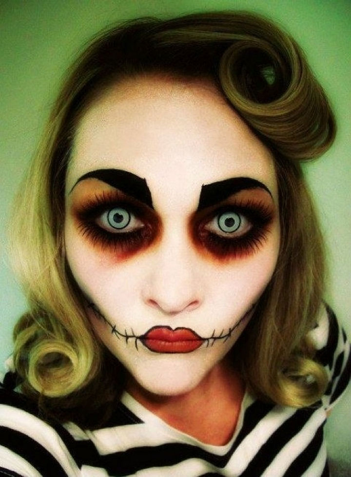 37 Scary Face Halloween Makeup Ideas - Rockabilly zombie.