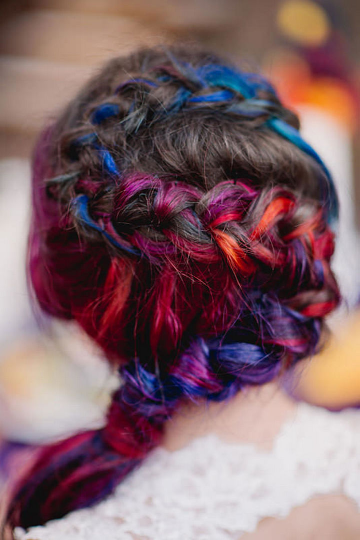 """She settled on a """"sunset"""" color theme and proceeded to dye her hair using the same colors as her dress."""