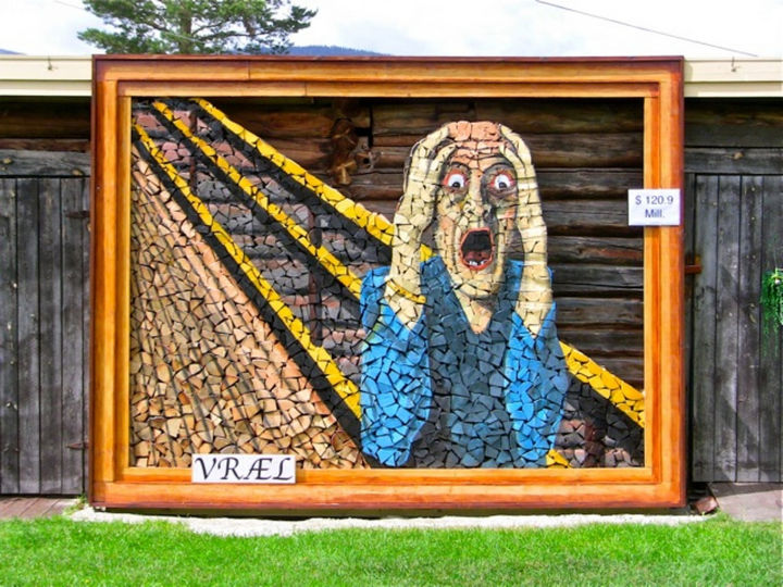 13 Displays of Stacked Wood Art - A colorful stacked wood piece inspired by Edvard Munch's 'The Scream.'