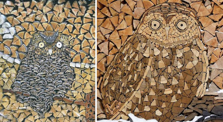 13 Displays of Stacked Wood Art - A couple of owls hiding in a stack of wood.