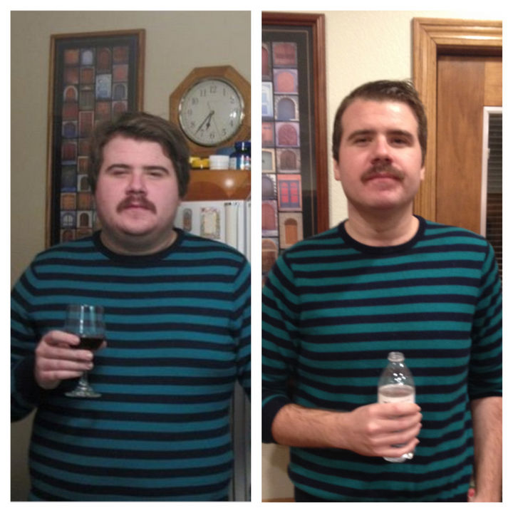 Before and After Weight Loss Photos of People Who Quit Drinking - 1 Year Sober.
