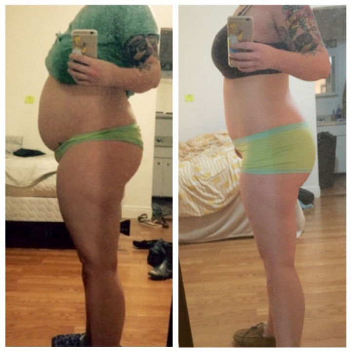Before and After Weight Loss Photos of People Who Quit Drinking - 1.5 Years Sober.
