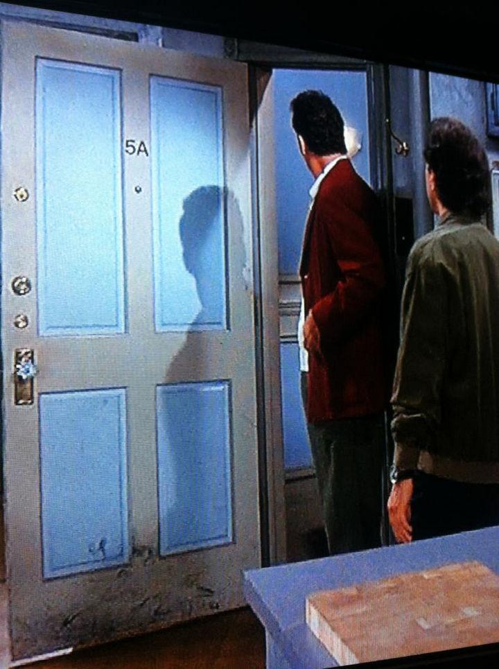 Kramer literally left his mark on Seinfeld's door.